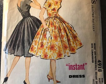 Vintage 50s McCall's 4918 Dress Pattern-Size 14 (34-26-36)