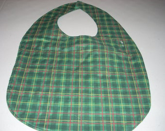 Green, Red, Yellow Plaid Adult Size Bib / Clothing Protector - Reversible