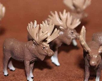 Reindeer Miniature Moose Figurine, Winter wild animal, 2 inch Tiny Deer, Elk Terrarium Animal Toy Figure