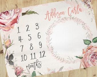 Baby Milestone Blanket - Personalized Baby Blanket - Floral Baby Milestone Blanket - Baby Blanket - Calendar Photo Prop - Roses blanket