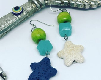 NEW earrings with beads, Stars, Summer 2018 by Catmadenova