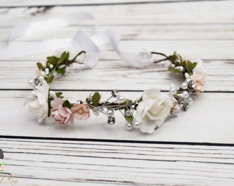 Handcrafted Wild Rose Blush Pink and White Pearl Flower Crown - Bridal Flower Crown - Woodland Halo - Pink and White Wedding Headband - Hair