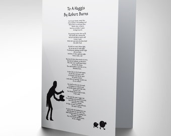 Scots Poem Card-  Robert Burns To A Haggis Scotland Blank Greetings Card CP157