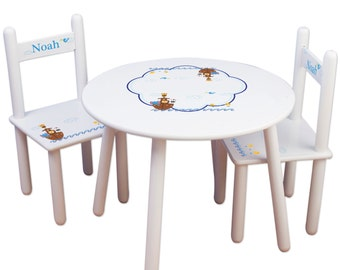 Personalized Child\u0027s Table Chair Set with Noahs Ark Animals for Baby Toddler Childrens Playroom  sc 1 st  Etsy & Girl\u0027s Personalized Unicorn Table \u0026 Chair Set Kids