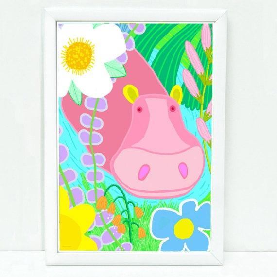 Whimsical hippo art print for kids, sophisticated art for kids, children's decor, art for kid's wall, prints for kids room, pink, cute hippo