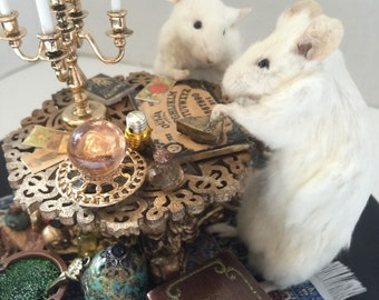 """SALE!!!! NOW 15% off! Taxidermied Mice """"The Seance"""" Handmade Anthropomorphic Mouse Taxidermy Scene in Dome"""