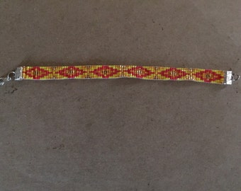 Pink and Yellow, Loom Beaded Bracelet, Native American Diamond Pattern, Glass Seed Beads, Friendship Bracelet