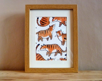 "Tigers, 5x7"", Original Watercolour and Ink Painting, Original Tiger Art, Nursery Wall Art"