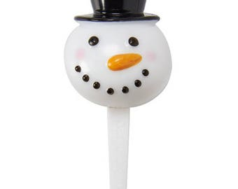 12 Snowman 3D Cupcake Picks Toppers Party Favors Christmas Cake Decorations
