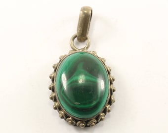 Vintage Malachite Oval Pendant 925 Sterling Silver PD 2368