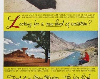 1953 New Mexico Travel Print Ad - Taos Pueblo, Sangre de Cristo Mountains - Western US Travel 1950s