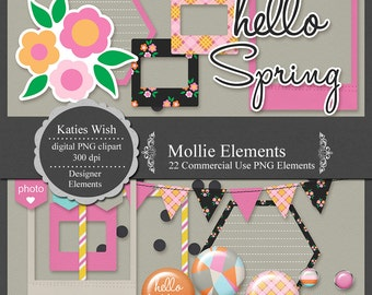 Mollie Commercial Use Digital Scrapbooking Elements Instant Download