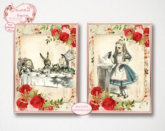 Alice in Wonderland Prints, Wonderland Wall Art, Lewis Carroll, Printable Wonderland Art, Mad Tea Party, Mad Hatter Print, Home Decor, Gift