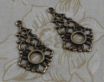 LuxeOrnaments Oxidized Brass Filigree Open Pendant (Qty 2) 34x20mm S-5467-B