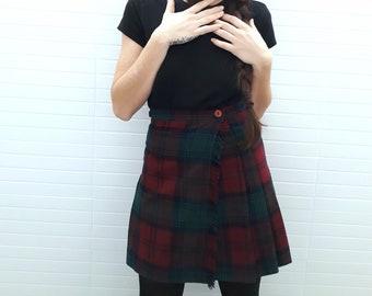 Vintage 90s Tartan Scottish Wool Mini Skirt // 1990s // Pure New Wool Scottish Pleated Skirt // Kilt mini skirt // Tartan //