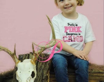 Take Home Outfit, Baby Girl Onesie, Newborn Onesie, Pretty in PINK Dangerous in CAMO, Newborn Baby Clothes, Embroidery