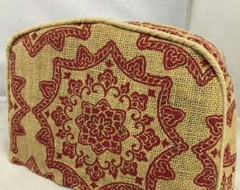 Red Medallion Burlap Toaster Cover
