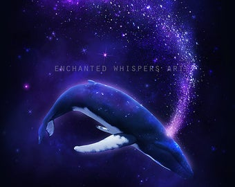 Humpback whale print, whale art print, fantasy whale, surreal whale art, space whale, surreal art print, fantasy art print, whale decor