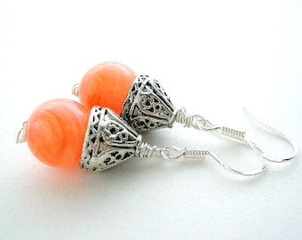 Pumpkin Orange Earring - Sterling Silver Wire Wrapped Earring - Fall Fashion - Peach Orange Simple Earring