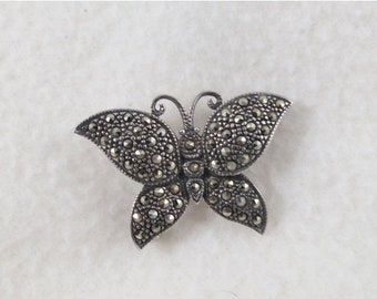ON SALE Sterling Silver Butterfly Brooch Pin Adorned With Marcasites