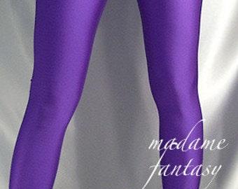 Purple shiny spandex leggings