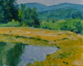 Original Oil Painting, Plein Air, Berkshire Landscape, Pond, Summer, by Robert Lafond