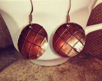 Distressed Textured Copper Earrings
