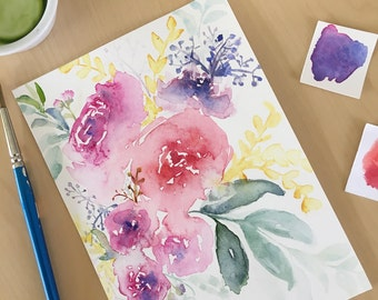 Original Watercolor Flower Painting, Flower bouquet, Watercolor Floral Painting, valentines gift for her, floral decor, flower art