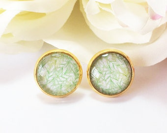Green Stud Earrings, Green Glass Cabochon Stud Earrings, Green Leaf Earrings, Gold Earrings Studs, Green and Gold Studs,Green Tree,Gift Idea
