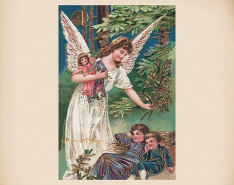 Christmas Angel With Children New 4x6 Vintage Image Photo Print CH61