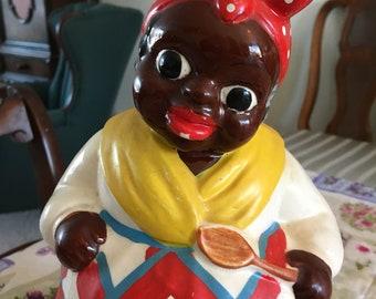 Vintage Cookie Jar Beautiful African American Woman Baker Original Label 1960's Very Good Vintage Condition