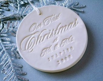 Personalized Our First Christmas as Mr. & Mrs. Ornament 2017, Gift Boxed