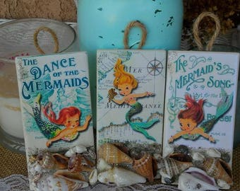 Trio set of baby vintage mermaids and maps on hanging tiles