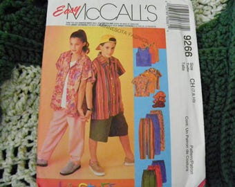 Sewing Pattern - Easy McCall's 9266 - Boys' And Girls' Shirt, Tank Top, Pull-On Pants Or Short And Hat - Size CH 7, 8, 10
