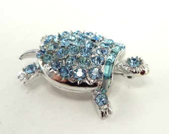 Vintage Signed PELL Light Blue Rhinestone Turtle Brooch Pin Silver Tone Setting
