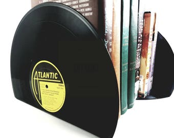 Vinyl Record Bookends - Vintage Bookends for the music enthusiast add charm & warmth to any room.  Various Artists Vinyl Record Bookends.