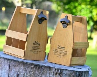 Personalised Groomsmen Gift, Wedding Present, Personalised Beer Caddy, Wood Beer Carrier with Bottle Opener, 6 Pack Holder