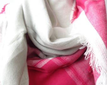 plaid scarf , gift for her ,pink and gary  square scarf, blanket scarf,palid blanket scarf, tartan scarf.