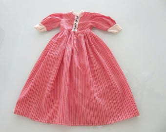 Doll Dress Red Candy Cane Stripe Print Poly Cotton with Lace Trim 17.5 Inch Length