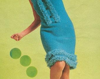 Vintage 1960s Ruffled Fringed Go Go Dress Knitting Pattern PDF 6613
