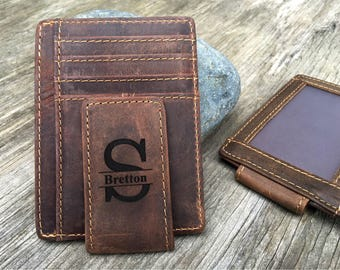 Monogrammed Leather Money Clip, Personalized Rustic Leather ID Card Wallet, Men's Money Clip Gift, Credit Card Custom Wallet, Magnetic A