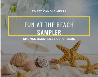Wax Melts Sampler- Fun At Beach - Wax Melts Cups Sampler- Pre order - Handpour Wax Melts