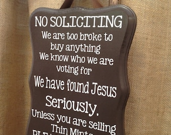 No Soliciting Sign - (funny sign, thin mints, samoas)