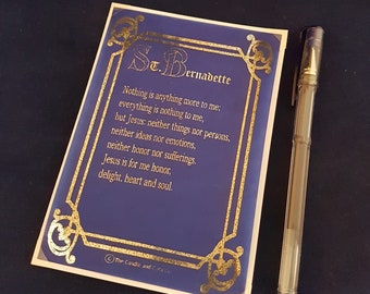 Saint Bernadette Prayer Card, Foiled Print on Vellum, Blank Cards, Religious Print,  Catholic Prayer