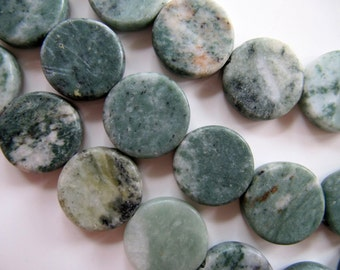 22mm Green MARBLE Beads in Sage Green, Cream, Gray, Flat Round, Coin Focals, 10 Pieces