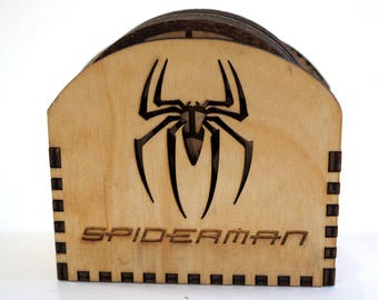Spider Man Coasters - Laser cut and laser engraved coaster set. Perfect gift or collectible for drinks and barware.