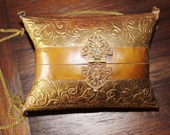 Vintage India Brass Pillow style Purse Steampunk purse