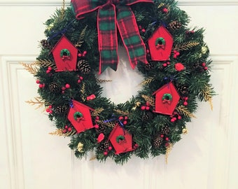 """16"""" evergreen Christmas wreath with red tin birdhouses & a plaid flannel bow"""