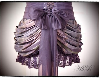 Mink Brown Checked Bustle / Black Bow / Black Lace - Victorian Steampunk Gothic Lolita Burlesque Lace