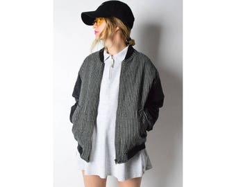 Vintage 80s Gray Striped Wool Blend Bomber Jacket Size S